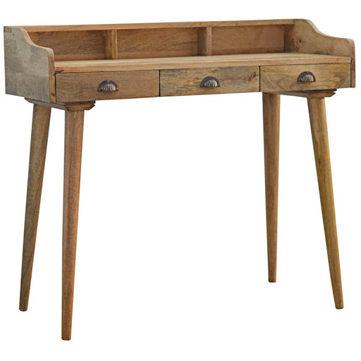 Solid Wood Nordic Writing Desk with 3 Drawers & Gallery Back - Simply Utopia