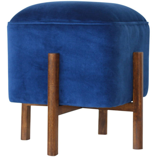 Royal Blue Velvet Footstool with Solid Wood Legs - Simply Utopia