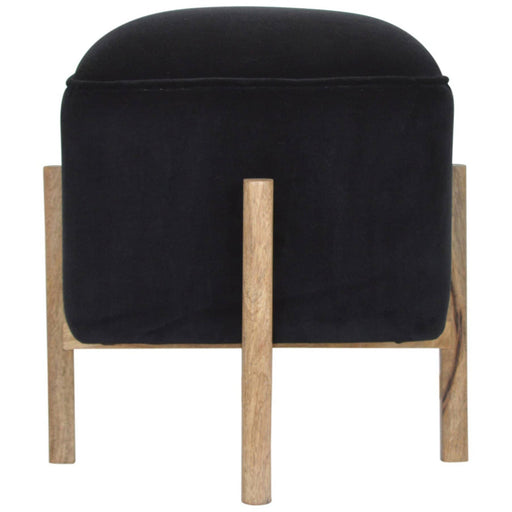 Black Velvet Footstool with Solid Wood Legs - Simply Utopia