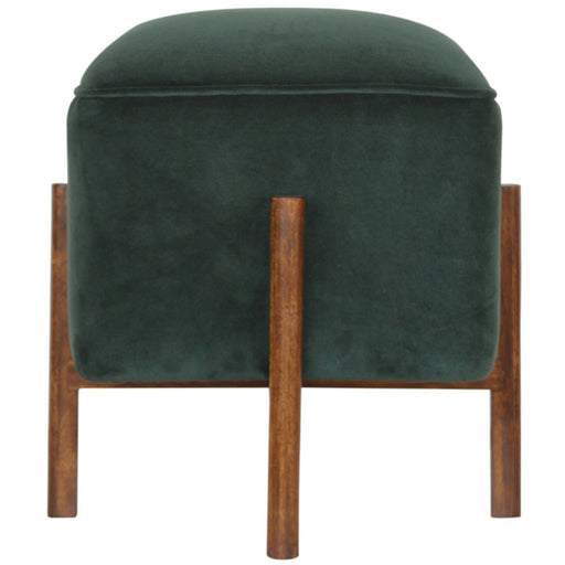 Emerald Velvet Footstool with Solid Wood Legs - Simply Utopia