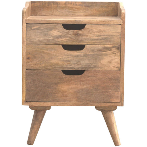 Scandinavian Styled Bedside with 3 Cut Out Drawers - Simply Utopia
