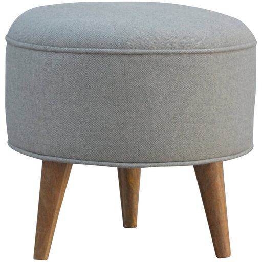 Round Nordic Styled Footstool in Grey Tweed - Simply Utopia