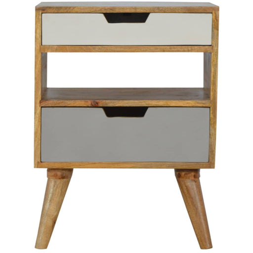 Nordic Style Grey 2 Drawer Cut-out Bedside - Simply Utopia