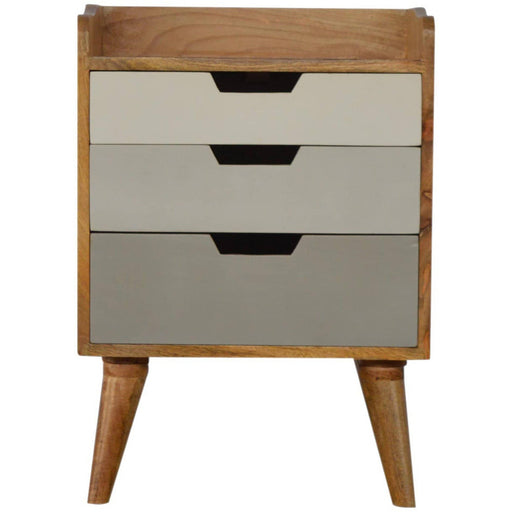 Nordic Style Grey Painted Bedside with 3 Drawers - Simply Utopia