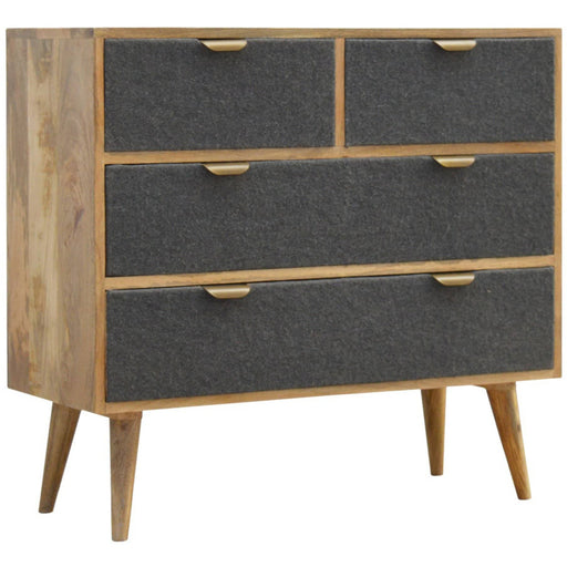 2 Over 2 Chest with Grey Tweed Fabric Drawer Fronts - Simply Utopia