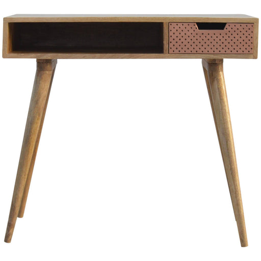 Nordic Style Writing Desk with 1 Perforated Copper Front Drawer - Simply Utopia