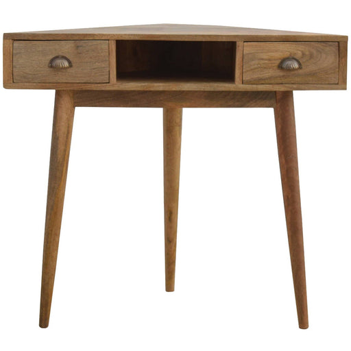 Corner Writing Desk with 2 Drawers And Open Slot - Simply Utopia
