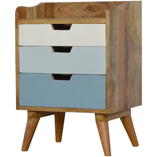 Bedside with Blue Hand Painted Cut Out Drawers - Simply Utopia