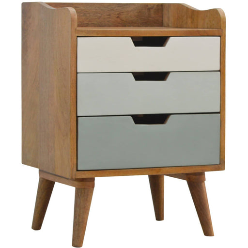 Bedside with Green Hand Painted Cut Out Drawers - Simply Utopia