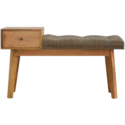 Multi Tweed 1 Drawer Wooden Bench - Simply Utopia