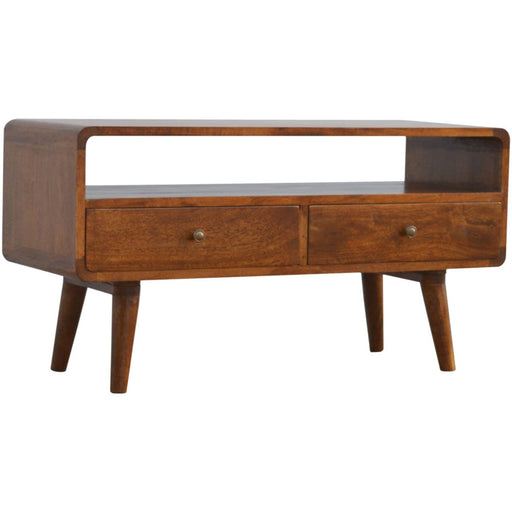 Curved Chestnut Media Unit - Simply Utopia