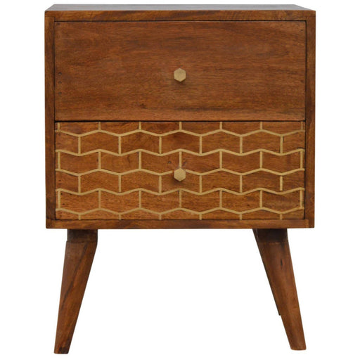 2 Drawer Chestnut Bedside with Gold Patterned Drawer Front - Simply Utopia