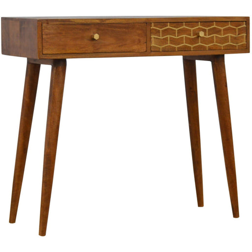 2 Drawer Chestnut Writing Desk with Gold Patterned Drawer Front - Simply Utopia