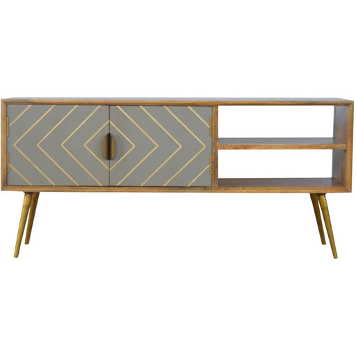 Open Nordic Style Media Unit with 2 Cement Brass Inlay Doors - Simply Utopia
