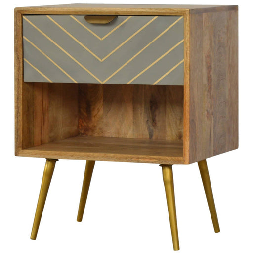 1 Drawer Nordic Style Sleek Cement Bedside with Brass Inlay - Simply Utopia
