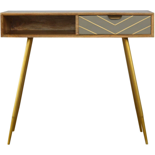 1 Drawer Nordic Style Writing Desk with 1 Brass Inlay Drawer - Simply Utopia