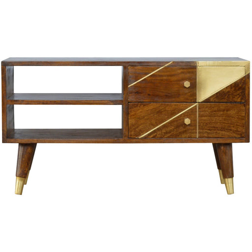 Nordic Style Chestnut Media Unit with Gold Detailing - Simply Utopia