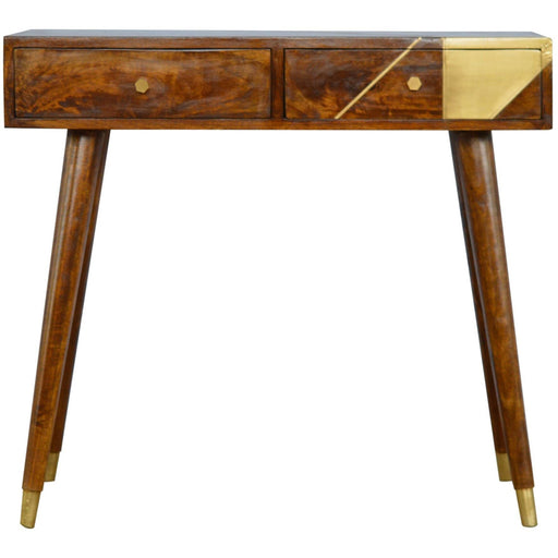 Nordic Style Chestnut Writing Desk with Gold Detailing - Simply Utopia