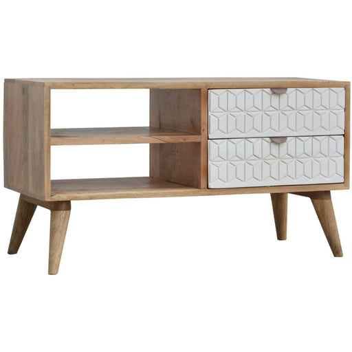 White Painted Geo Media unit - Simply Utopia