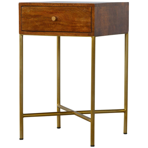 Chestnut End Table with Gold Criss-Cross Base - Simply Utopia