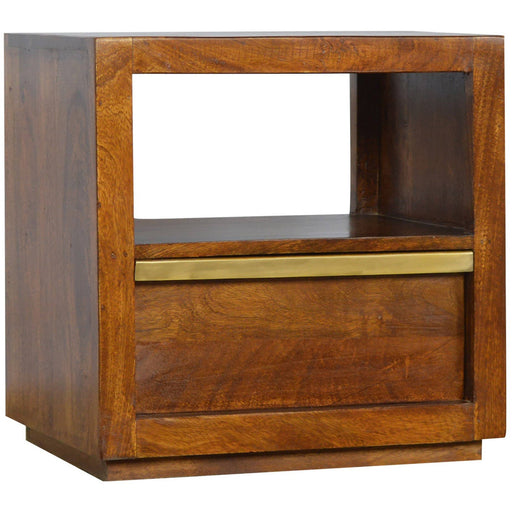 Drawer Chestnut Bedside with Gold Pull out Bar - Simply Utopia