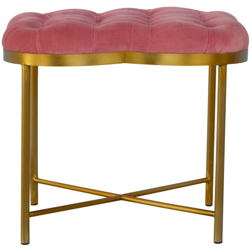 Clover Shaped Deep Button Footstool Upholstered Pink Velvet with Golden Base - Simply Utopia