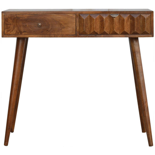 Solid Wood Console Table with Carved Drawer Front - Simply Utopia