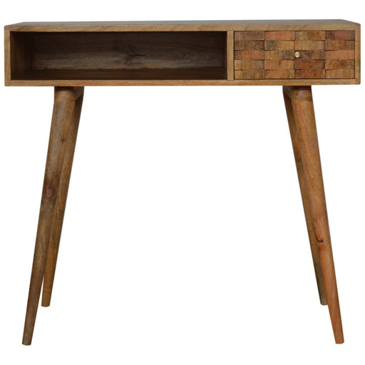 Tile Carved Writing Desk with Open Slot - Simply Utopia