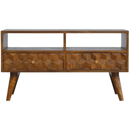 Chestnut Cube Carved Media Unit with 2 Drawers - Simply Utopia