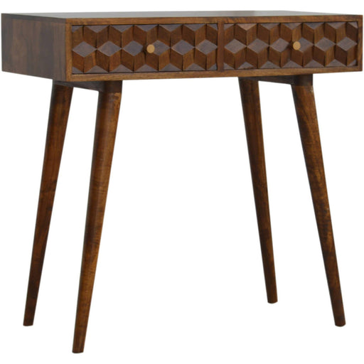 Chestnut Cube Carved Console Table with 2 Drawers - Simply Utopia