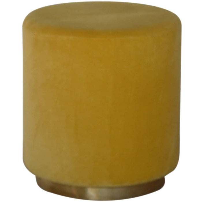 Mustard Velvet Footstool with Gold Base - Simply Utopia