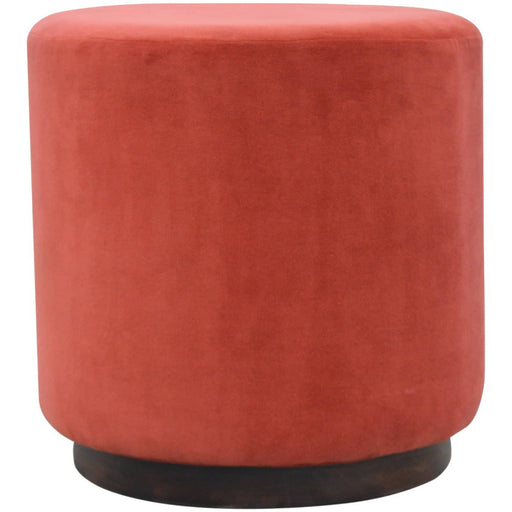 Rust Velvet Footstool with Gold Base - Simply Utopia