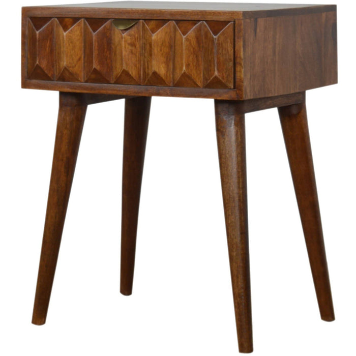 Carved Chestnut Bedside - Simply Utopia
