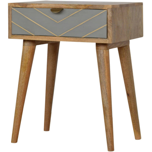 One Drawer Bedside Cement With Brass Inlay - Simply Utopia