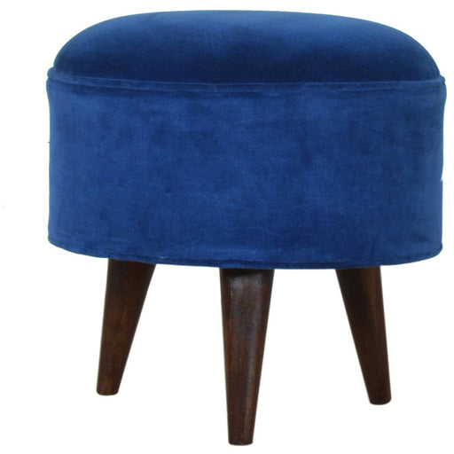 Royal Blue Velvet Nordic Style Footstool - Simply Utopia