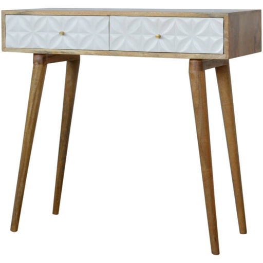 Petal Carved White Painted Console Table - Simply Utopia