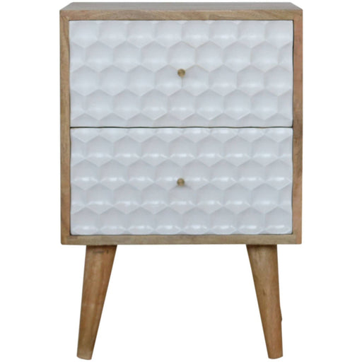 Honeycomb Carved Bedside with 2 Drawers - Simply Utopia