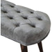 Grey Cotton Velvet Deep Button Bench - Simply Utopia