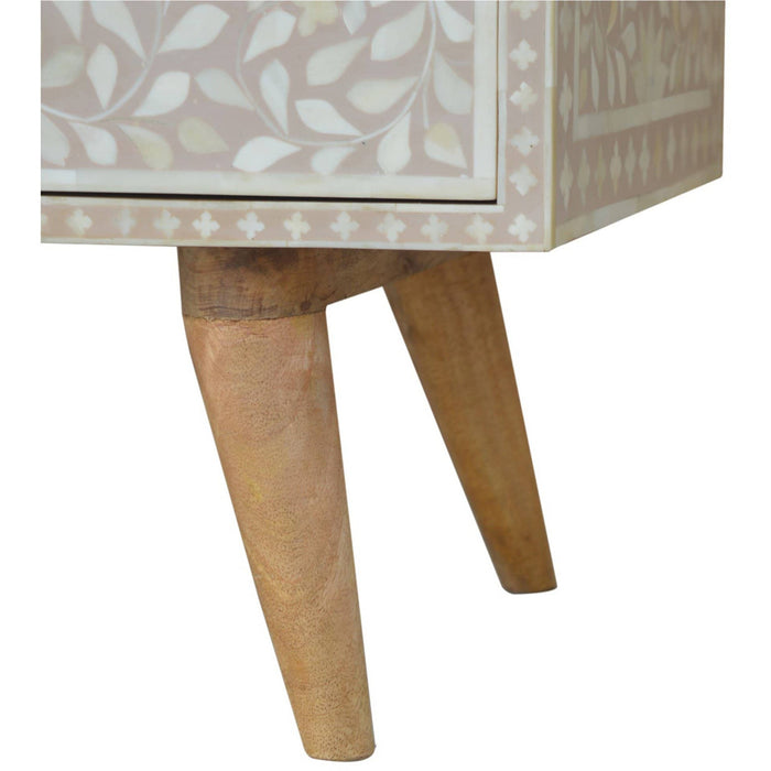 Light Taupe Floral Bone Inlay Media Unit - Simply Utopia