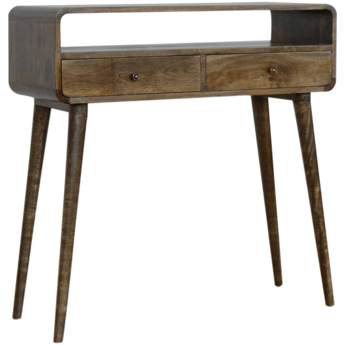 Curved Grey Washed Console Table - Simply Utopia