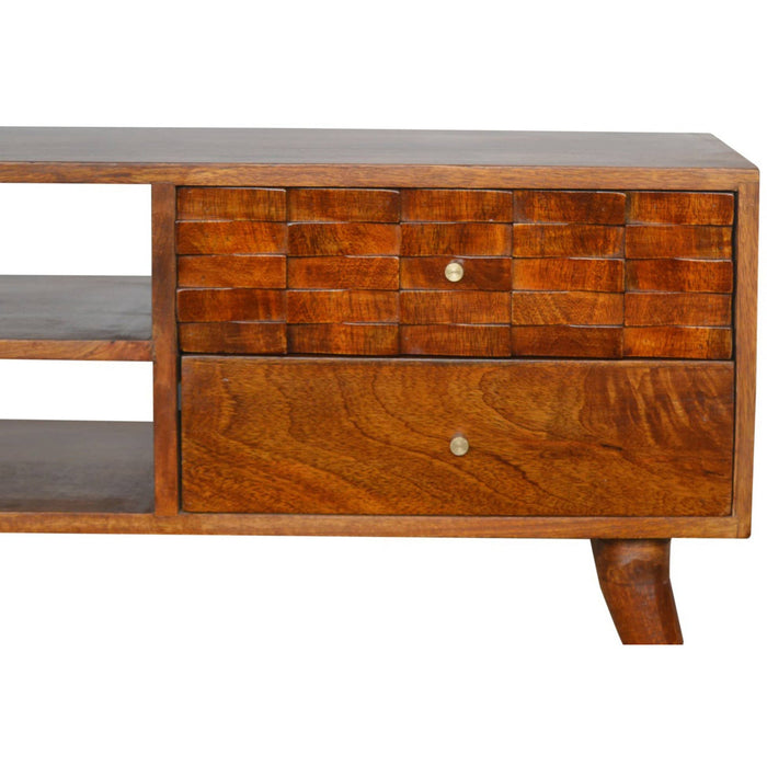 Tile Carved Chestnut TV Unit - Simply Utopia