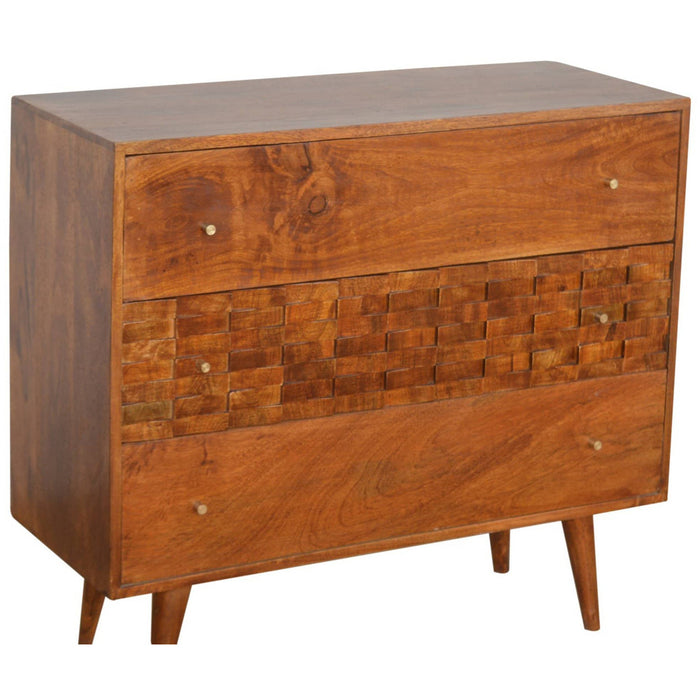 Tile Carved Chestnut Chest - Simply Utopia