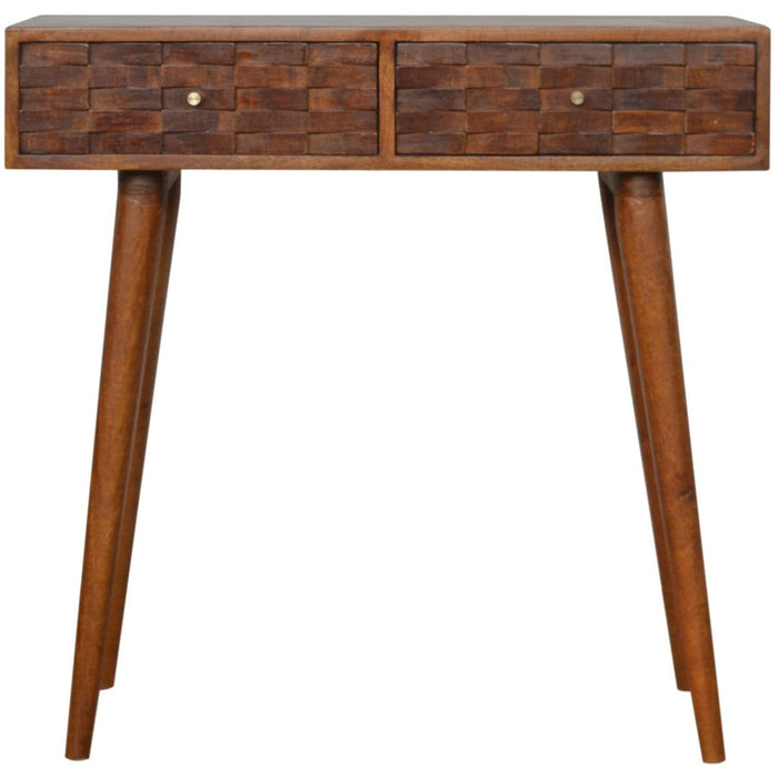 Tile Carved  Chestnut Console Table - Simply Utopia