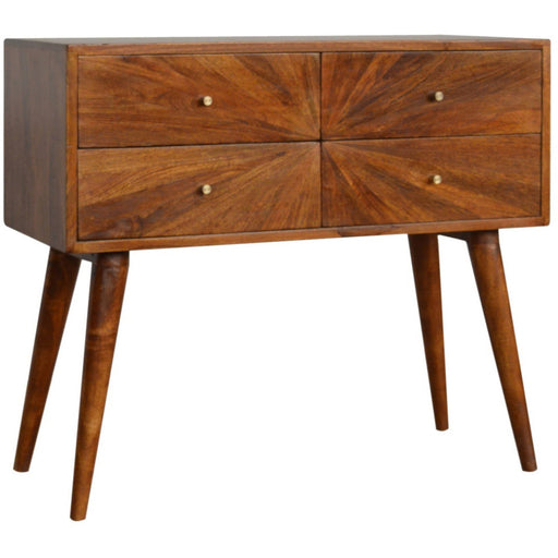 Sunrise Patterned Chesnut Console Table - Simply Utopia