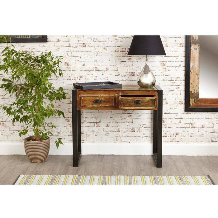 Urban Chic Reclaimed Wooden Two Drawer Console Table - Simply Utopia