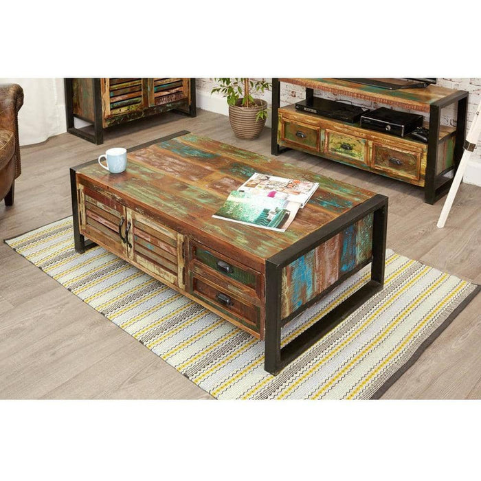 Urban Chic Reclaimed Wooden 4 Door 4 Drawers Large Coffee Table - Simply Utopia