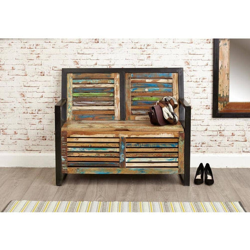 Urban Chic Reclaimed Wooden Storage Monks Bench With Shoe Storage - Simply Utopia