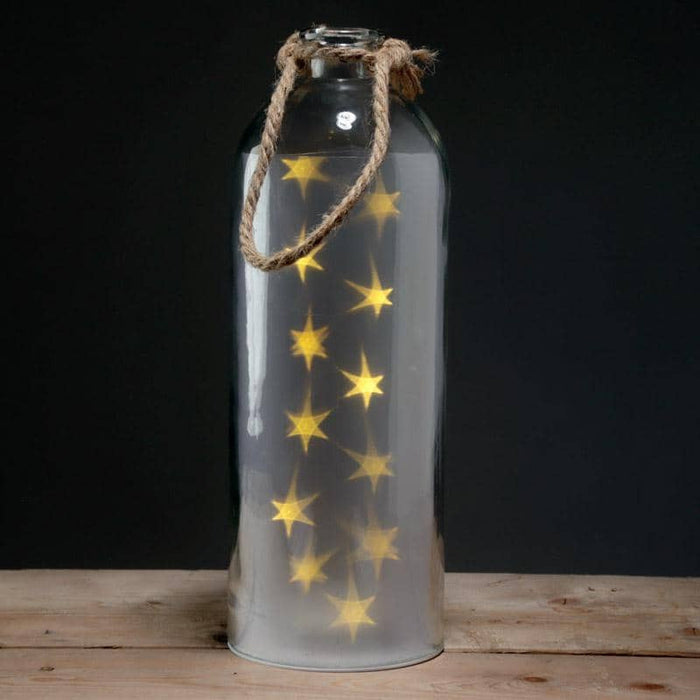 Decorative LED Glass Light Jar - White Stars Large with Rope - Simply Utopia