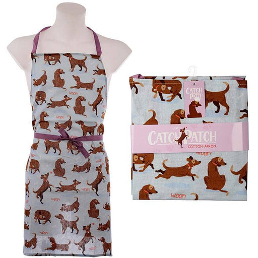 Fun Catch Patch Dog Design Poly Cotton Apron - Simply Utopia