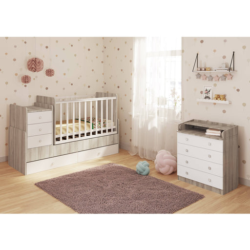 Kidsaw Kudl Cot bed Simple 1100 with drawer unit,  elm-white - Simply Utopia